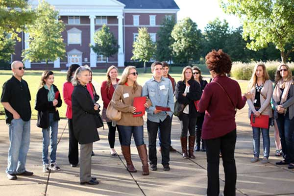 Students on a college tour