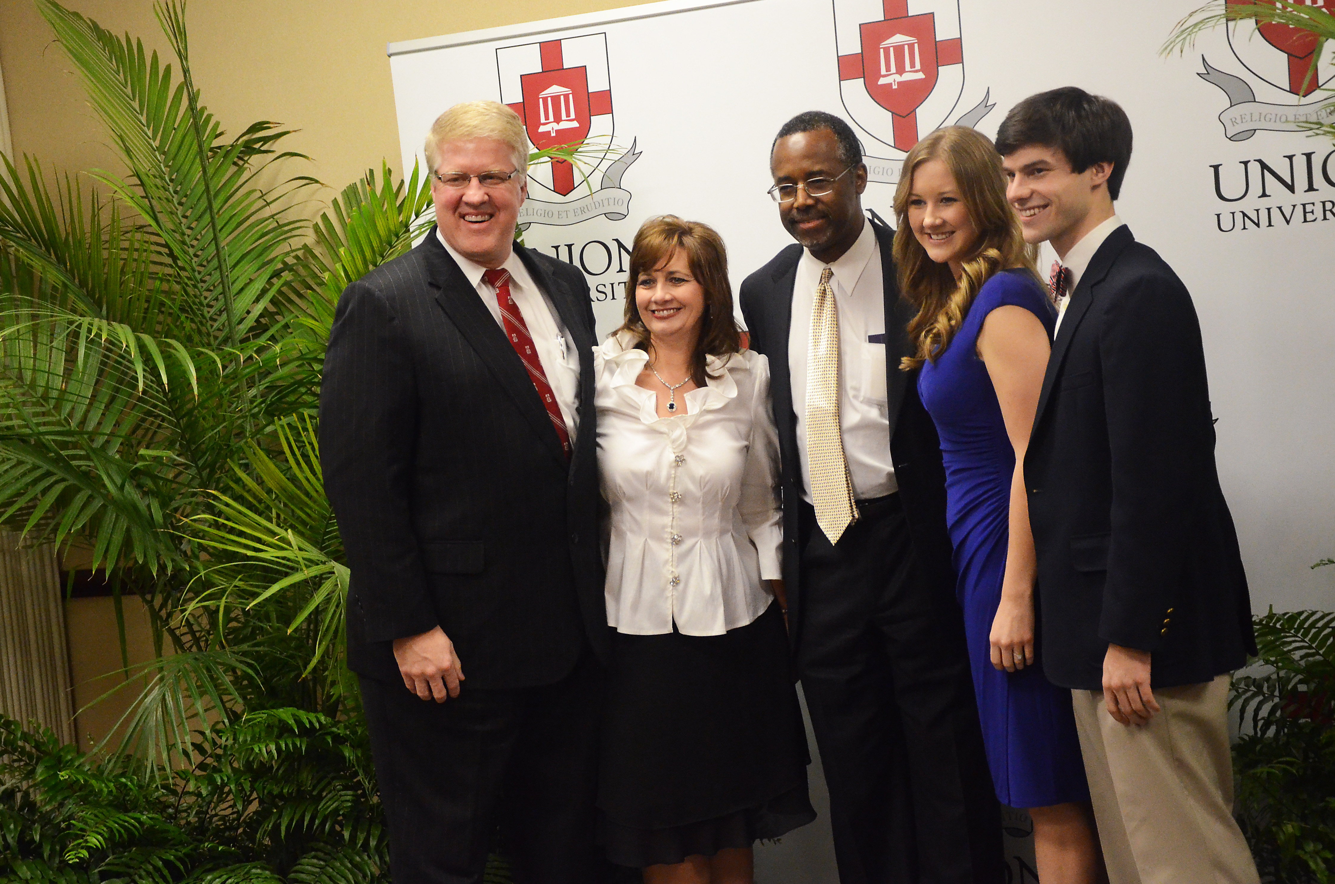 Dr Ben Carson Poses With Tim Smith Far Left Dean Of The School Nursing And His Family After 16th Annual Scholarship Banquet