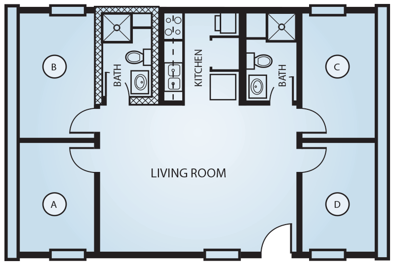 Quad Dorm Room Layout